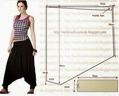 easy pants pattern use stretch fabrick Sewing Dress, Sewing Pants, Sewing Clothes, Diy Clothing, Clothing Patterns, Dress Patterns, Sewing Patterns, Diy Pantalon, Pattern Cutting