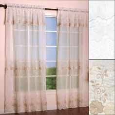 Do you love the look of sheer curtains? With a Marianna Sheer Embroidered Curtain Panel with Attached Valance you can have sheer window coverage as well as a bit of neutral color from your window dressings. Because the valance is attached, installation is a breeze. The floral pattern and scalloped bottom gives these curtains a delicate and romantic look. These polyester panels are machine washable and come in both white and natural. But only available 84""