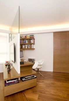 Fascinating Minimalist Home Office Design Ideas With White Wall Wooden Table Storage Lamps Stainlees Steel Desk Wooden Floor