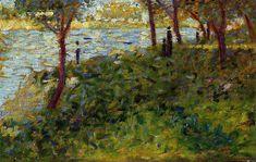 Landscape with Figure. Study for 'La Grande Jatte' - Georges Seurat