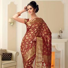 Maroon Pure Silk Saree with Blouse