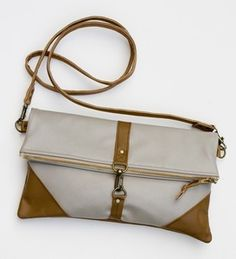 ALL LEATHER foldover bag in pavement