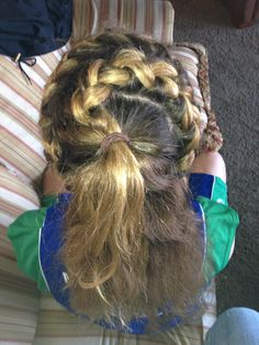 My sister did my hair for me before my basketball game