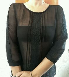 PINS & NEEDLES NEW BLACK BOHO TOP URBAN OUTFITTERS ANTHROPOLOGIE BOHO 3/4 SLEEVE #PINSNEEDLES #Blouse #EveningOccasion