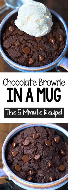 Brownie In A Mug Easy Chocolate Mug Cake, Chocolate Mug Brownies, Brownies Keto, Beste Brownies, Chocolate Recipes, Delicious Chocolate, Boxed Brownies, Chewy Brownies, Caramel Brownies
