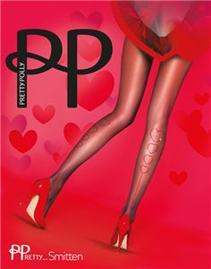 90f4c292bd0 Pretty Polly denier Sheer Pantyhose Tights Red Seam w rhinestone Heart