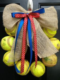 Hey, I found this really awesome Etsy listing at http://www.etsy.com/listing/155736631/softball-wreaths-with-used-softballs