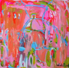 """Powerful pink makes a bold statement! """"Party Dress"""" by Winston Wiant. 30 x 30 inches. Acrylic on gallery wrapped canvas. SOLD."""