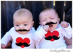 3 month twins with mustaches - KIM HAYES PHOTOGRAPHY: Fort Worth Photographer