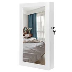 Symple Stuff Jewelry Cabinet with Mirror   Wayfair.co.uk Wall Mounted Jewelry Armoire, Mirror Jewellery Cabinet, Wall Mounted Mirror, Jewellery Storage, Safe Storage, Storage Spaces, Storage Ideas, Modern Jewelry Box, Mirror Cabinets