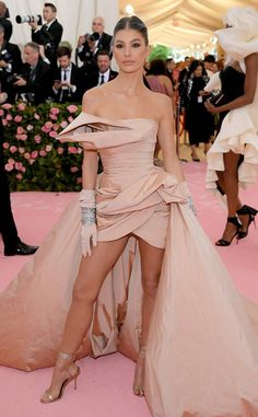 Camila Morrone from 2019 Met Gala Red Carpet Fashion In Elie Saab Constance Wu, Susan Sontag, Rosie Huntington Whiteley, Naomi Campbell, Gal Gadot, Marchesa, Nicki Minaj, Elie Saab, Kanye West