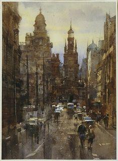 【格拉斯哥,Glasgow】27*36CM,Watercolour....By Chien Chung Wei,簡忠威老師水彩課堂示範,ARCHES