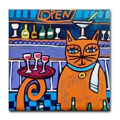 50 off  Cat Gift GINGER CAT ART  s Cat by HeatherGallerArt on Etsy, $10.00