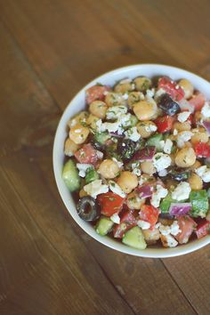 Mediterranean Chickpea Salad - Absolutely delicious! Made with couscous and pita bread for a vegetarian dinner, then used the left overs for lunch in a wrap with hummus