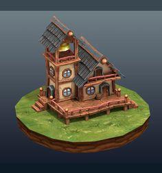 town hall 3D model Fantasy house Game concept art Building art