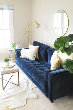 Sven Cascadia Blue Sofa Our new home has a large open area at the top of the stairs which will be an upstairs hangout for our kids, so the bright blue has the perfect fun vibe for that space. Photo by Eleven Magnolia Lane. Blue Couch Living Room, Living Room Furniture, Home Furniture, Blue And Gold Living Room, Rustic Furniture, Furniture Dolly, Cheap Furniture, Modern Furniture, Modern Sofa