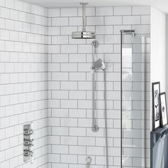 The Bath Co. Winchester concealed thermostatic mixer shower with ceiling arm and slider rail Shower Over Bath, Shower Rail, Shower Set, Leaky Faucet, Tub Faucet, Shower Faucet, Shower Diverter Valve, Shower Valve, Brass Shower Head