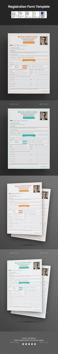 Paper Registration Form Template Registration Form Bundle  Registration Form Adobe Indesign And .