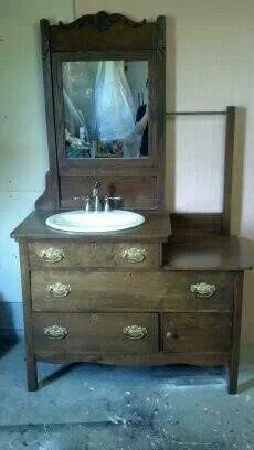 antique vanity reposed this would be so beautiful