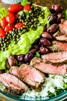 Creamy Avocado Steak Salad - a protein packed, creamy and delicious salad that is perfect to use up leftover steak!