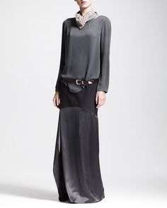 Silk+Blouse+with+Detachable+Collar,+Paneled+Wool-Satin+Skirt,+Leather+Hip+Belt+&+Silk+Scarf+by+Brunello+Cucinelli+at+Neiman+Marcus.