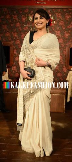 Rani Mukherjee attended Sabyasach's show at the Indian Couture week 2014 wearing a cream saree from the same designer. http://www.kalkifashion.com/