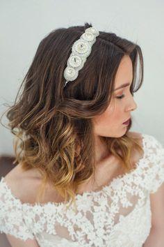 Wedding white headpiece Bridal crystal headband Wedding