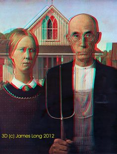 1928 Grant Wood - American Gothic.  #9 in popularity on personal 3D art website. Best enjoyed with Red/Cyan glasses.