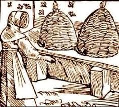 Animal - Insect - Bees - Medieval - bee hives, illustration Illustration of medieval bees and apiary. Scan of 2 d image in the public domain believed to be free to use without restriction in the US - oktouse Medieval Life, Medieval Art, Bee Skep, Bee Hives, Vintage Bee, Printable Animals, Bee Art, Bee Happy, Bees Knees