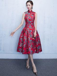 e2df86d7a74 A-line Red Flare Qipao   Cheongsam Dress