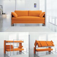 Het Doc Sofa Dunk Bed van Clei is een ideale bedbank. Binnen een handomdraai heb je tweepersoons stapelbed.
