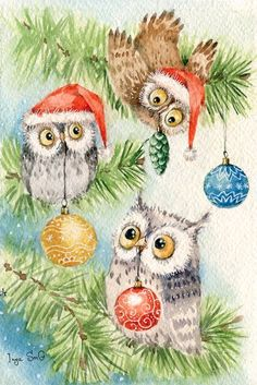 Chez Anna - Page 23 Christmas Bird, Whimsical Christmas, Christmas Drawing, Christmas Paintings, Christmas Animals, Christmas Crafts, Vintage Christmas Images, Christmas Pictures, Paper Owls