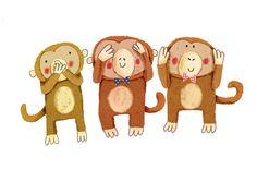 Cally jane studio--three wise monkeys
