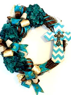 Teal HYDRANGEA GRAPEVINE Wreath with Handmade by FancyWreathLady
