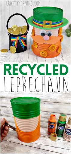 Recycled Can Leprechaun and pot of gold Craft. St patricks day craft for kids to make! DIY project with tin soup cans. Art project for st. paddys day. St Patricks Day Crafts For Kids, St Patrick's Day Crafts, Halloween Crafts For Kids, Crafts For Kids To Make, Kid Crafts, Halloween Fun, Diy For Kids, Holiday Crafts, Paper Crafts