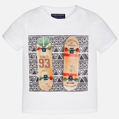 Camiseta manga corta de niño print monopatín Nata
