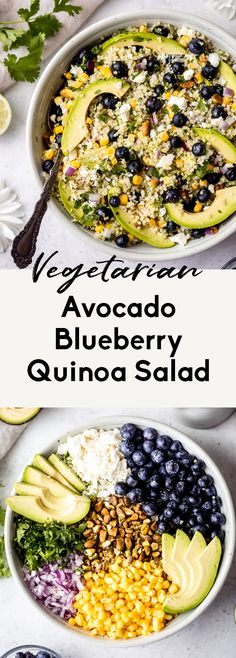 Gorgeous avocado blueberry quinoa salad loaded with fresh corn, red onion, tangy feta, chopped pistachios, and tossed in a flavorful cilantro lime dressing. This delicious vegetarian quinoa salad is perfect for summer lunches, parties, and picnics. #quinoa #quinoasalad #blueberries #healthylunch #mealprep #mealprepping #summer #avocados Blueberry Quinoa Salad, Vegetarian Quinoa Salad, Avocado Quinoa, Quinoa Salat, Vegetarian Recipes, Healthy Recipes, Cilantro Lime Quinoa, Diet Recipes, Eating Clean