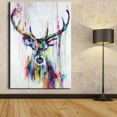 Online Shop Big Triptych Watercolor Deer Head Posters Print Abstract Animal Picture Canvas Painting No Frames Living Room Home Decor Cuadros Wall Canvas, Canvas Art Prints, Wall Prints, Poster Prints, Big Canvas, Wall Art, Reproductions Murales, Watercolor Deer, Watercolor Animals