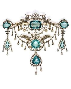 A Belle Epoque diamond, aquamarine, diamond and pearl devant de corsage, of brilliant branches with pearls, French, late 19th to early 20th century. In the collection of the National Museum of Warsaw.