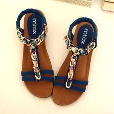 Flat heel open toe sandals fashion belt flat sandals t summer casual women's shoes 2014