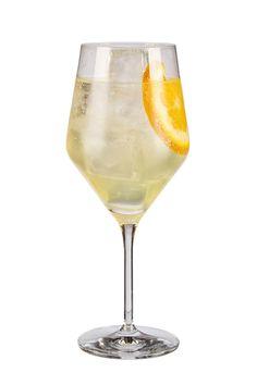 to make a limoncello spritz use martini prosecco d.o.c., pallini limoncello, soda (club soda) and garnish with orange slice pour all ingredients into ice-filled