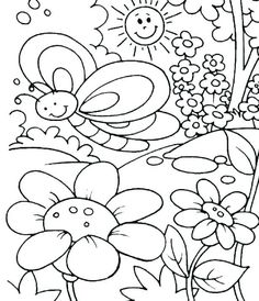 Spring coloring pages butterfly flower sunshine ColoringStar ...