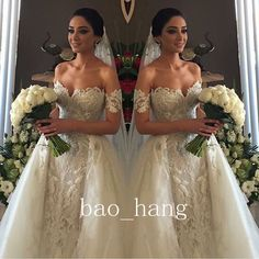 2016 Off Shoulder Detachable Train Wedding Dress Crystal Lace Beads Bridal Gowns More