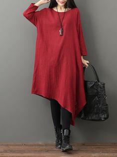 Gracila Vintage Women Pure Color O-neck Irregular Dress