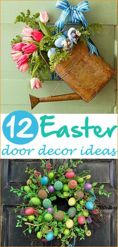 Easy Easter wreaths that will look stunning on your front door or inside your home. Home decor that will spice up your porch for the Spring. Egg, water pail and floral wreaths for your front door.
