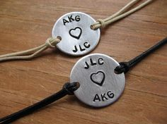 Simply Say It bracelets for Couples (set of 2) - personalize with your initials, ect.