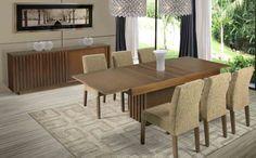 A Sala de Jantar Maraú possui mesa elástica com tampo de madeira, extensível de 1,60 até 2,20. As cadeiras são fixas e estofadas (tecido ilustrativo). O Balcão Genipabu possui duas gavetas internas. Disponível em outros acabamentos e tecidos, conforme nosso mostruário. Medidas: mesa: 1,60/ 2,20 x 0,76 x 0,90 m. Cadeira: 0,44 x 0,91 x 0,51 m. Balcão: 1,80 x 0,81 x 0,39 m. http://www.moradamoveis.com/
