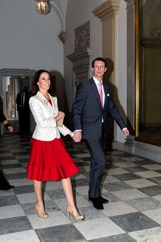 Princess Marie of Denmark and Prince Joachim of Denmark arrive for a reception hosted by Queen Margarethe of Denmark for the Danish Olympic and Para-Olympic Teams at Christiansborg on October 14, 2016 in Copenhagen, Denmark.