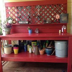 "potting bench - change lattice to old windows; add shutter doors on lower; add enameled basin for ""sink"" (to hold ice/beverages)"