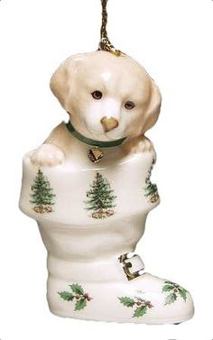 Spode Christmas Tree Ornament Puppy in Boot *** Details can be found by clicking on the image.